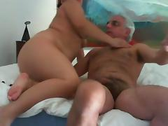 Chubby babe fucks an old guy in front of a webcam tube porn video