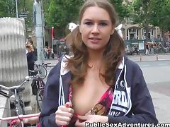 Real funny girl goes for outdoor hard anal tube porn video