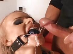 Curly blonde swallows two big cocks tube porn video