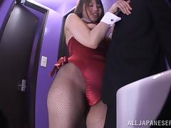 An Asian girl in a playboy bunny costume sucks a dick tube porn video