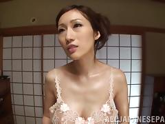 Arousing Japanese mature babe Julia gives a foot job and tit fuck tube porn video
