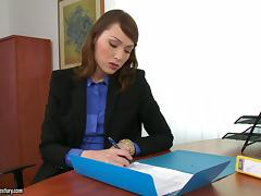 Sex in the office with a smoking hot boss Macy tube porn video
