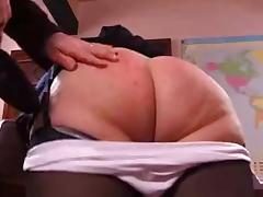 Naughty granny gets her booty spanked hard tube porn video