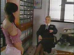 British Cougar Dominates A Hot Lesbian Teen In Pigtails tube porn video