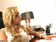 Slutty blonde secretary Aleska Diamond gets fucked by her boss tube porn video