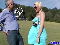 Classy blonde masturbates her minge tube porn video