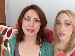 Sarah Shevon and Lily Labeau give a hot deepthroat blowjob tube porn video