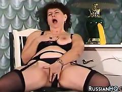 Fat Russian Masturbating tube porn video