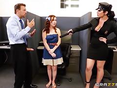 Curvy cop Jayden Jaymes enjoys rear pounding in an office tube porn video
