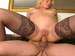 Blonde Hottie in Stockings Anal Fucking on Sofa tube porn video
