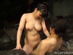 Naughty Asian couple fucking outdoors in a hot tub tube porn video