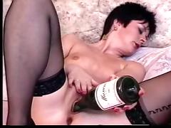 Short Hair Mature Loves Champagne With Chocolate tube porn video