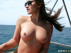 Dani Daniels gets her mouth and cunt fucked on a boat in MMF clip tube porn video
