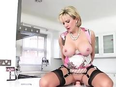 British Lady Sonia rides dildo tube porn video