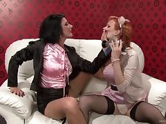 Gorgeous lesbian babes in sexy miniskirts and nylon stockings ravishing each other with toys tube porn video