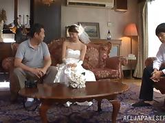 Japanese bride enjoys her hairy pussy fingered then sucks cock tube porn video