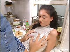 Wild couple gets freaky when they anal fuck in the kitchen tube porn video