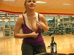 Hardcore reality solo with Alison Angel getting naughty in a gym tube porn video