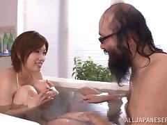 Old and young clip with Japanese babe getting slammed Hardcore in bathroom tube porn video