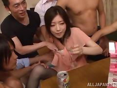 Daring Asian pornstar having her pussy and tits rammed with massive vibrators before being gangbanged tube porn video